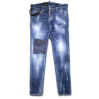 Dsquared2 Rope Clip Slim Jean Distressed Denim
