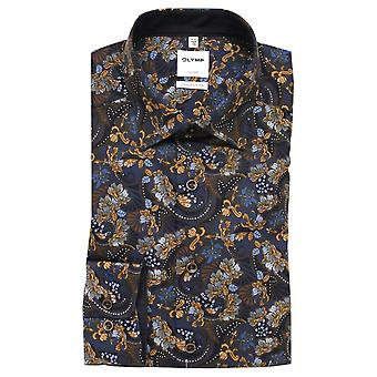OLYMP Olymp Navy And Brown Shirt 1008 28