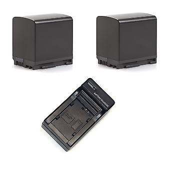 2 Battery + 1 Charger for Canon BP-820 VIXIA HF20 HF G10 G60 S100 M300 XA20 XA10