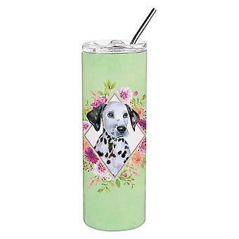 Далматинский щенок Зеленые цветы Двойная стена нержавеющая сталь 20 унций Тощий Тумблер