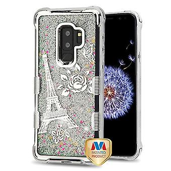 MYBAT Silver Electroplating/Eiffel Tower/Silver Flowing Sparkles TUFF Quicksand Glitter Lite Case  for Galaxy S9 Plus