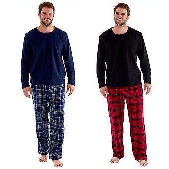 Pantaloni pigiama Harvey James Mens Check manica lunga Top Lounge Sets