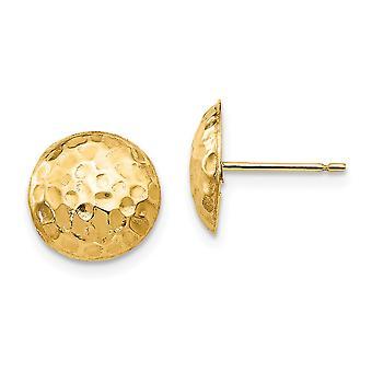 14k Gul guld poleret hamret rund post øreringe smykker gaver til kvinder