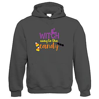 Witch Way To The Candy Hoodie | Halloween Fancy Dress Costume Trick Or Treat | Hallows Eve Ghost Pumpkin Witch Trick Treat Spooky | Halloween Gift Him Her Birthday