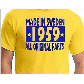 Camiseta amarela feita na Suécia 1959 Todas as peças originais