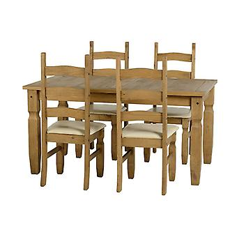 Corona 5' Dining Set - Distressed Gewachste Kiefer/Creme Pu