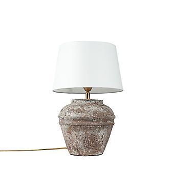 QAZQA Lâmpada de mesa rural marrom com sombra branca - Arta XS vintage