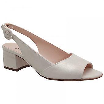 Peter Kaiser Caty White Low Blockheel Peep Toe Sandal