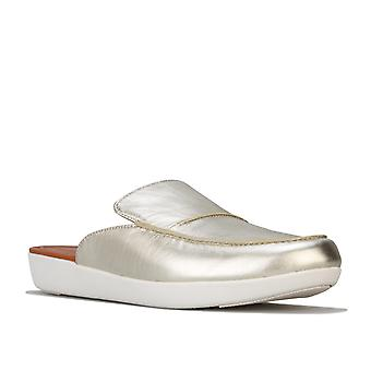 Womens Fitflop Serene Metallic Leather Mules In Silver
