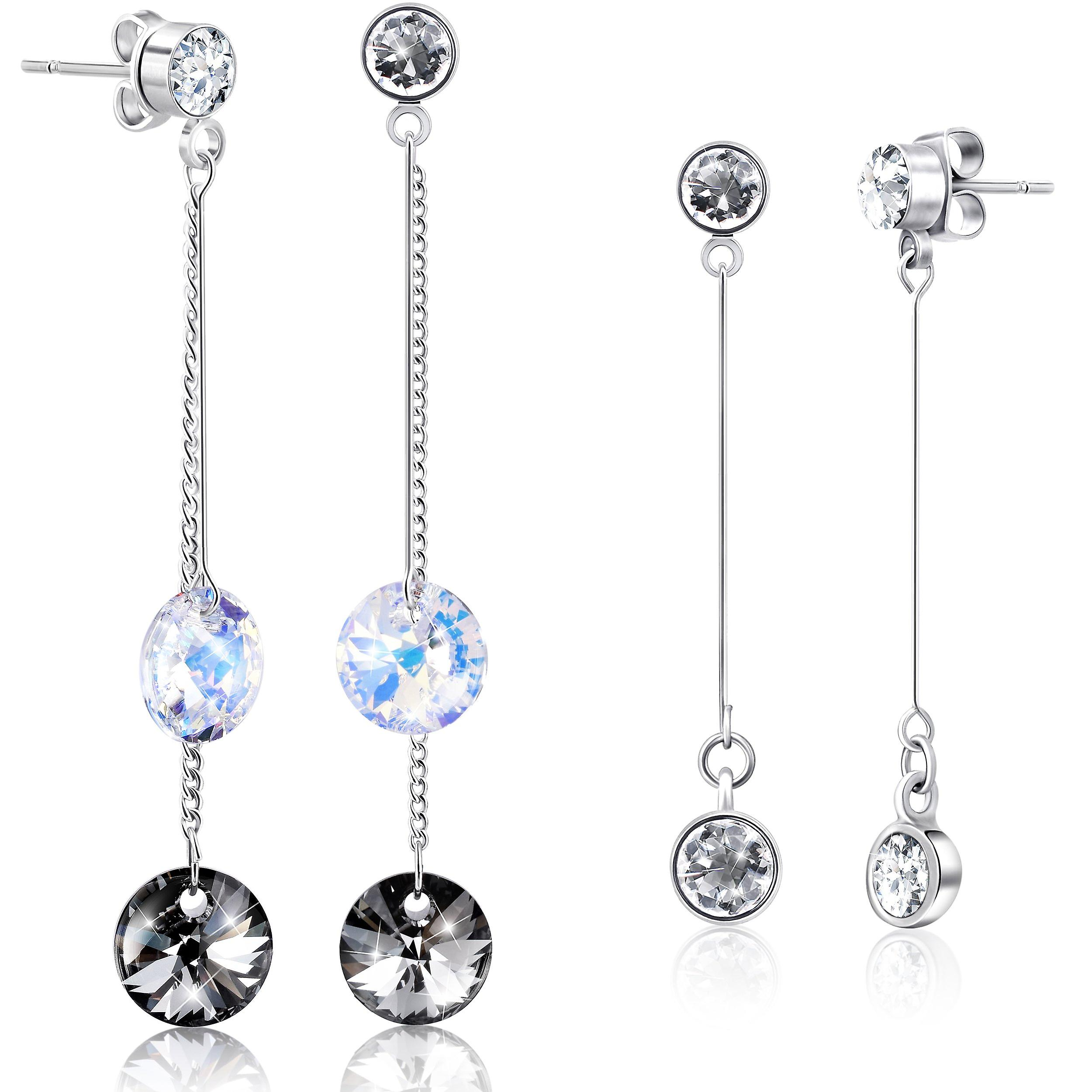 Set of 2 earrings by 2splendid. rhodium plated with swarovski crystals. box included. eeqz037-38