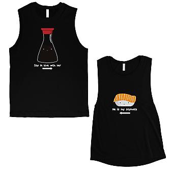 Sushi & Soy Sauce Cute Matching Workout Muscle Tank Tops Black
