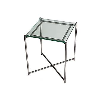 Gillmore Clear Glass Square Side Table With Gun Metal Cross Base