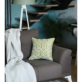 Celadon ja valkoinen jacquard geo koristeellinen heittää tyynyn kansi