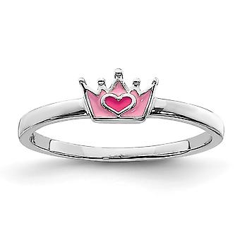925 Sterling Silver Rhodium plated for boys or girls Enameled Pink Crown Ring - Ring Size: 3 to 4