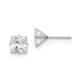 Acier inoxydable poli 7mm Square CZ Cubic Zirconia Simulated Diamond Stud Post Boucles d'oreilles Bijoux Bijoux pour les femmes