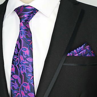 Bright pink & blue floral pocket square & necktie set