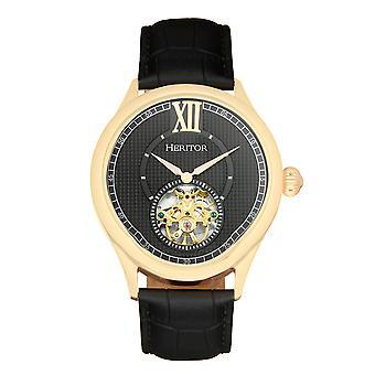 Perinnöor automaattinen Hayward semi-Skeleton nahka-Band Watch-kulta/musta