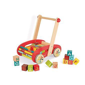 Janod Tatoo ABC Buggy Trolley avec 30 blocs