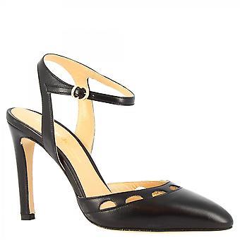 Women & apos;s حزام الكاحل المصنوعة يدويا حزام الكعب مضخات الأحذية في جلد نابا الأسود