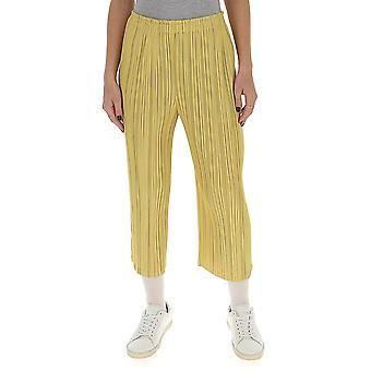 Issey Miyake Pleats Please Pp06jf59553 Women's Yellow Viscose Pants