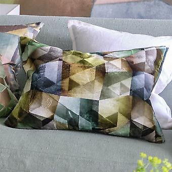 Designers Guild Maurier Geometric Cushion In Emerald Green