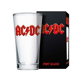 AC/DC Pint Glass Classic Band Logo new Official Boxed