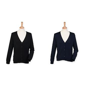Henbury Womens/Ladies col v bouton Up Cardigan