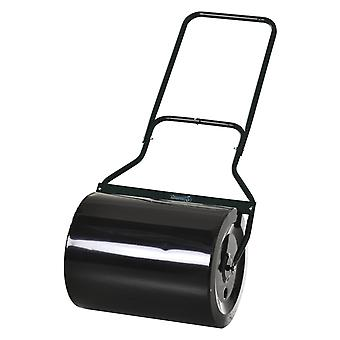 Outsunny 60L Steel Garden Roller Push Pull w/ Fillable Cylinder Water Sand Plug Lawn Flatten Seed Sow Rolling Drum Handle