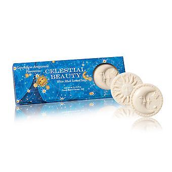Saponificio Artigianale Fiorentino Handgemaakte Zeep zon & Maan witte muskus geur liefdevol verpakt in hoge kwaliteit geschenkdoos 3x125 g