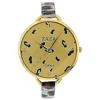 Zaza London Red Leopard Design Strap Ladies Goldtone Dial Fashion Watch LLB872