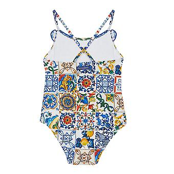 Dolce & Gabbana One-Piece Swimsuit In Stretch Nylon With Majolicas Print