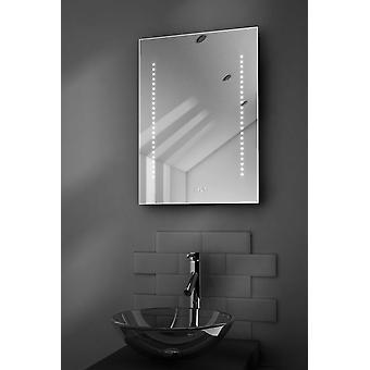 Miroir audio de salle de bains d'horloge ultraslim avec Bluetooth et capteur k184aud