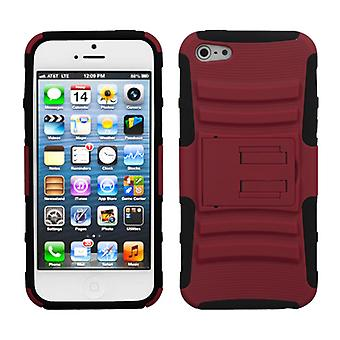 Asmyna Advanced Armor Stand Case pour Apple iPhone 5/5S - Rouge/Noir