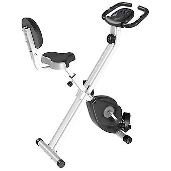 HOMCOM Manual Resistance Exercise Bike Foldable w/ LCD Monitor Adjustable Seat Heart Rate Monitors Food Straps Foot Pads Home Office Fitness Training Workout - Grey