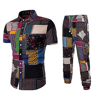 Allthemen Men's Casual Printed Short-Sleeve Suit