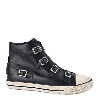 Ash Footwear Virgin Black Leather Buckle Trainer