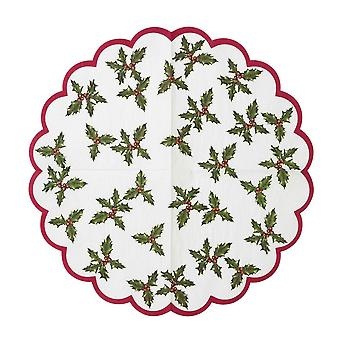 Botanical Holly Scalloped Edge Napkin x 20 Christmas Table
