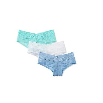 Mae Women's Lace Cheeky Hipster Panty, 3 pack, White/Hydrangea/Aqua, X-Large