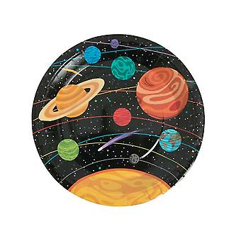 8 Large Outer Space Party Paper Plates for Kids Parties