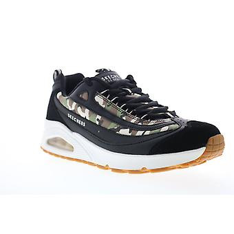 Skechers Uno Focus Fire  Mens Black Leather Lifestyle Sneakers Shoes