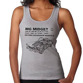 Haynes de taller Manual 0265 dueños MG Midget 948 a 1275cc negro chaleco de las mujeres
