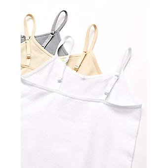Essentials Girls' 3-Pack Seamless Camisole, White/Nude/Heather Grey, M...
