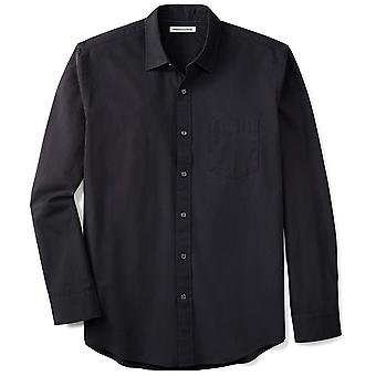 Essentials Men's Regular-Fit Long-Sleeve Solid Casual Poplin Shirt, gewaschen schwarz, Medium