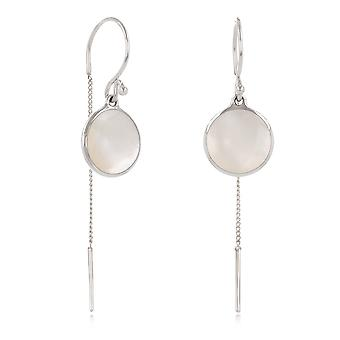 ADEN 925 Sterling Silver White Mother-of-pearl Round Shape Earrings (id 4264)