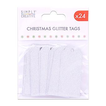 Simply Creative Christmas Glitter Tags Silver