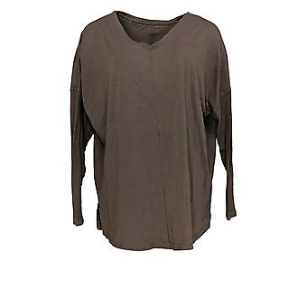 AnyBody Women's Top Cozy Knit Long Sleeve Top With Ribbing Beige A372086