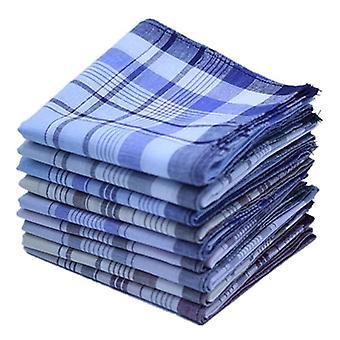 Square Plaid Stripe Handkerchiefs - Men Classic Vintage Pocket Hanky Pocket Cotton Towel For Wedding Party