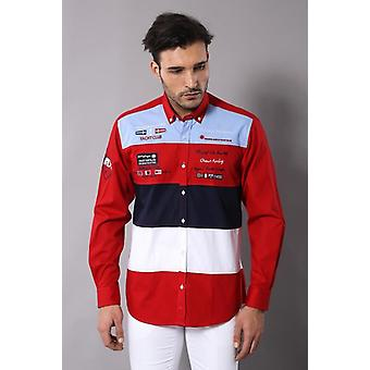 Red cruise yachting emblema men's camicia wessi