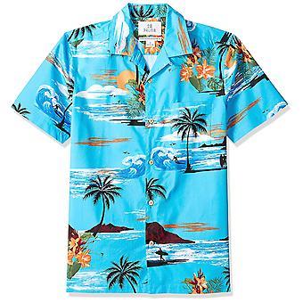 28 Palms Men's Standard-Fit 100% Cotton Tropical Hawaiian Shirt, Ocean Blue S...