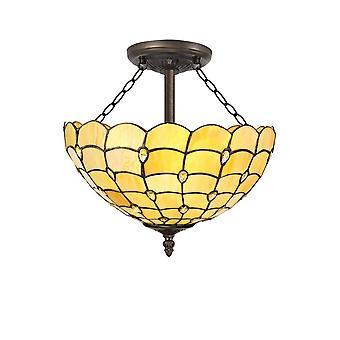 Luminosa Belysning - 3 lys semi flush loft E27 med 40cm Tiffany Shade, Beige, Klar Crystal, Aged Antik Messing